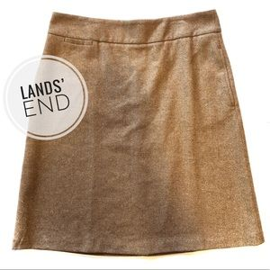 Lands' End Brown Herringbone A-Line Skirt [12P]